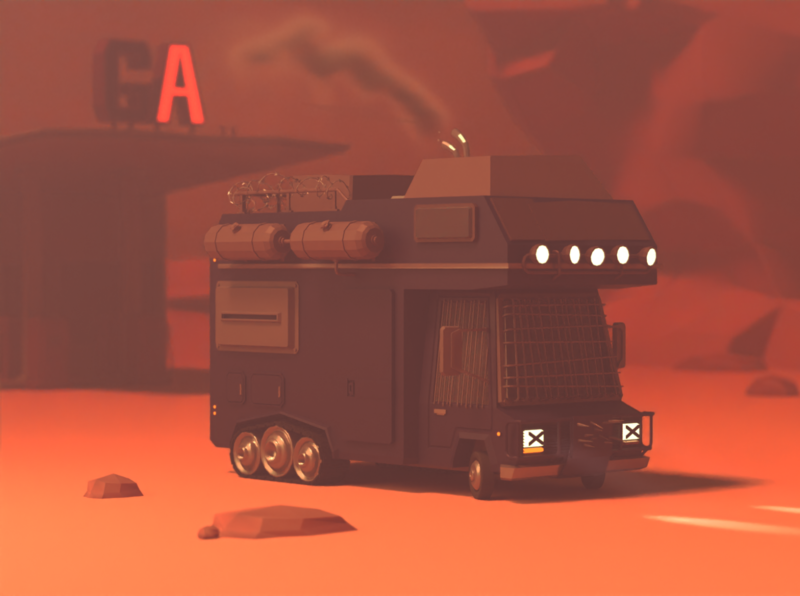 Camper Trippin' apocalypse style lowpoly zombie apocalypse camper mad max car illustration 3d blender