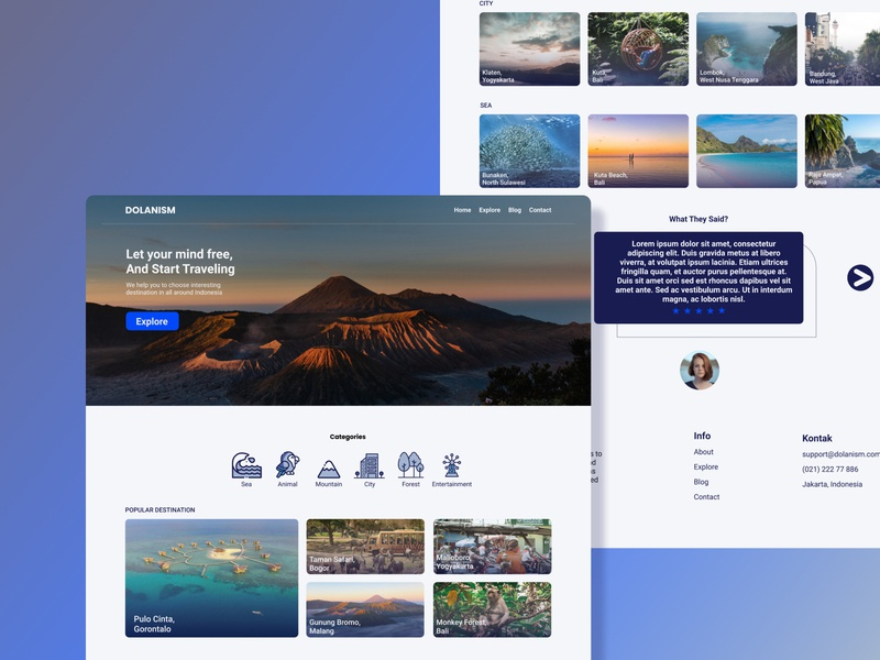 Dolanism | Travel Agency Landing Page UI travel app blue ui travelling travel agency website ux design ui design web design travel