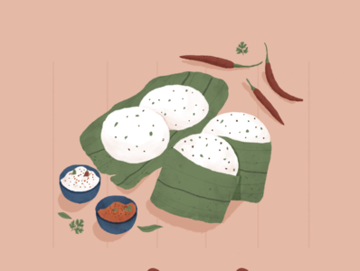 Idli Chutney neutral colors learning dribbleartist hand drawn herbs texture textured illustration adobe photoshop wacom soothing indian food dribble invite invite indian illustrator food illustration flatdesign indian digital art illustration digital illustration