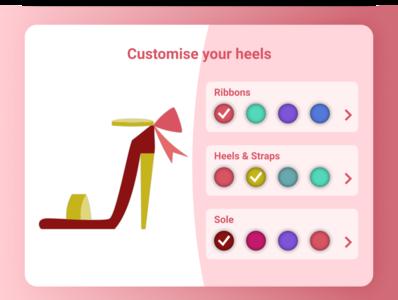 Customise Product shopping heels shoes customise product figma web ui ux design dailyui 033 dailyui