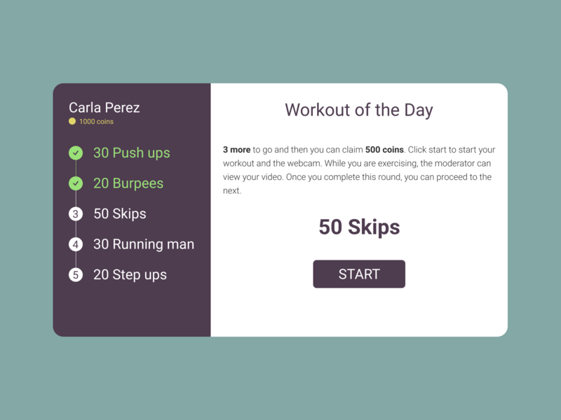 Workout of the Day #DailyUI #062 web design figma ux ui cardio exercise workout dailyui 062 dailyui workout of the day