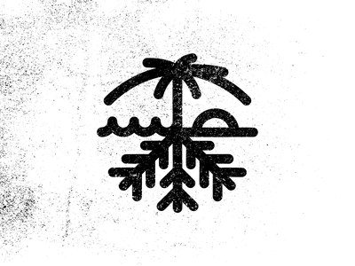 CaliSota waves sunset snowflake palmtree illustraion icon line minnesota california