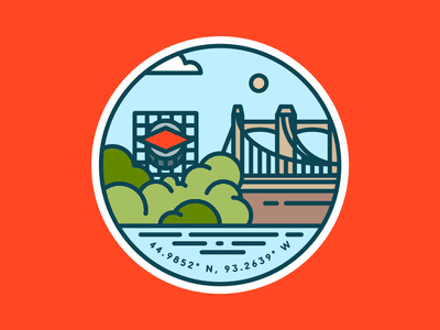Hennepin Avenue Bridge badge design badge color vector patch simple trees minnesota river water sky bridge city line illustraion