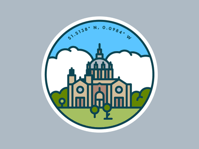 Cathedral of St. Paul logo mn minnesota landmark sky trees architecture clouds patch badge coordinates illustration line cathedral