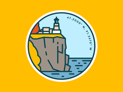 Split Rock Lighthouse building trees north shore lake superior lake patch badge cliff fall illustraion line northshore north lighthouse