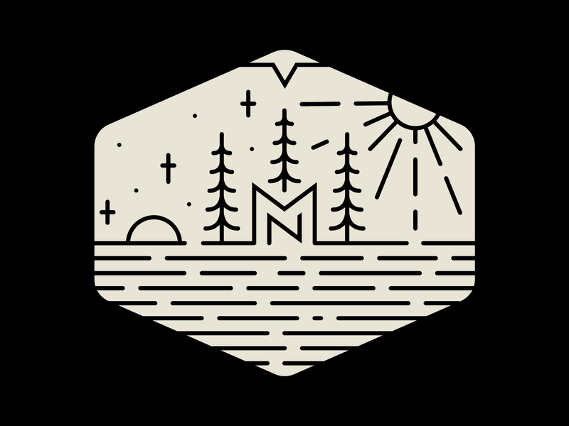 MN Badge mark logo water stars sun trees line badge