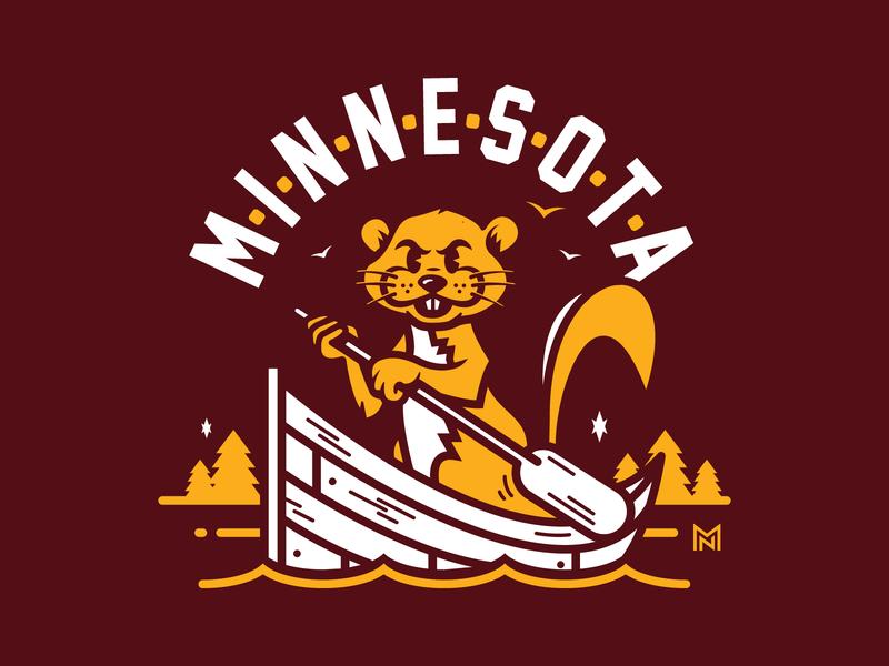 Minnesota Gopher paddle illustration boat type logo sports gopher