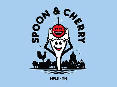 Spoon & Cherry minneapolis cherry spoon logo mascot illustration