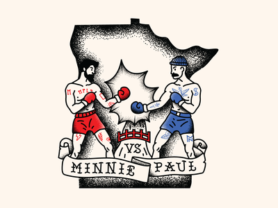 Minnie vs. Paul boxing shading typogaphy tattoo art illustration line tattoo stpple