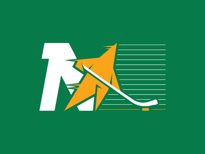 North Star Hockey skate mascot line illustration logo star