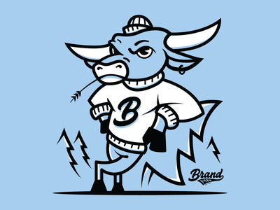 Babe The Blue Ox outdoors b animal art two color trees lines illustraion mascot ox