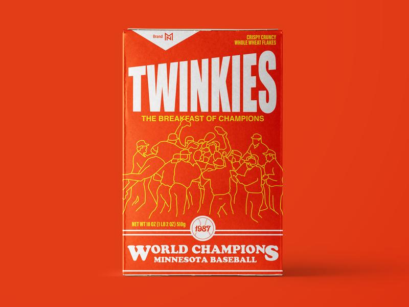 Twinkies Cereal Box mlb packaging throwback vintage baseball orange twins cereal
