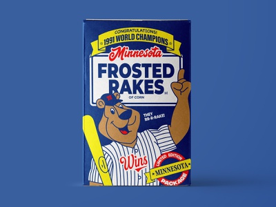 Minnesota Frosted Rakes typogaphy illustration cereal mlb baseball retro packaging box