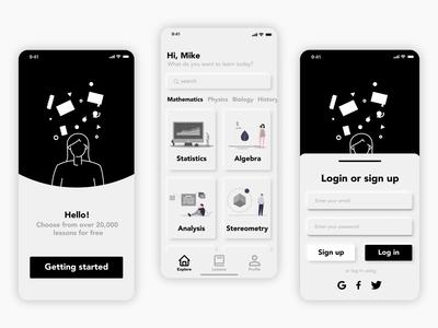 E-learning - neumorphism app concept