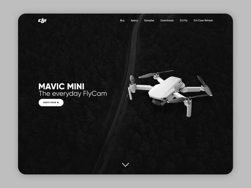 Dji Mavic Mini landing page #DailuUI #003 landing web design app design design covid19 ui daily ui 003 dailyui
