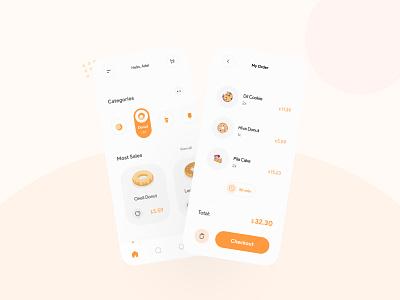 Food Order App Concept food order app food app food minimal donut app ui uidesign application app ui design mobile appui app design ui