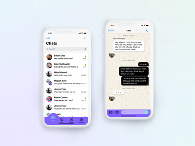 Messaging app lists contacts chats violet bold colors messaging app messages ui careerfoundry 2021 design