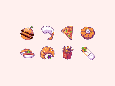 Meal illustrations set warm tones food illustration food doner fastfood bakery dessert sushi homefood pizza seafood burger meals meal illustration