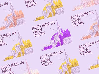 Autumn in New York poligraphy line illustration art new york color palette modern design illustration
