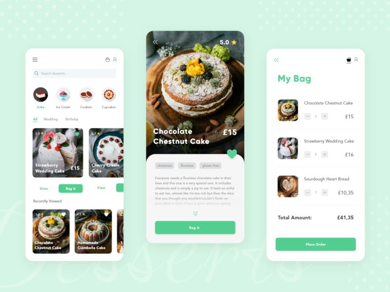 Dessert Exploration App foodie food application ui app design order desserts dessert app designer design ui user interface adobe xd app design app