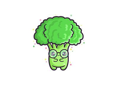 Broccoli may be cute food and drink broccoli food vegetable veggie logo character branding digitalart kawaii cute art illustration design cute