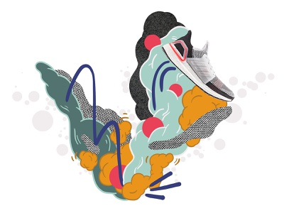Adidas UltraBoost 19 branding adobe photoshop adverstising keyvisual design collage illustration