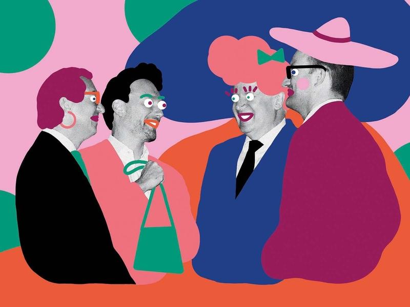 Die Zeit – Men's round collage adobe photoshop editorial illustration illustration