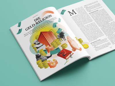 Anders Handeln Magazine – Money Religion adobe photoshop editorial illustration collage illustration
