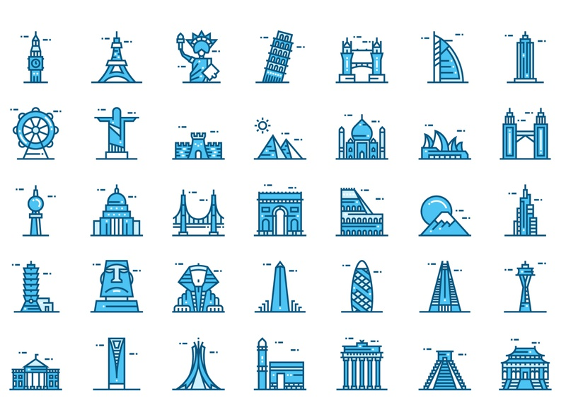World Landmarks icons app new york london paris icons travel touristic places vector icons world monuments world landmarks