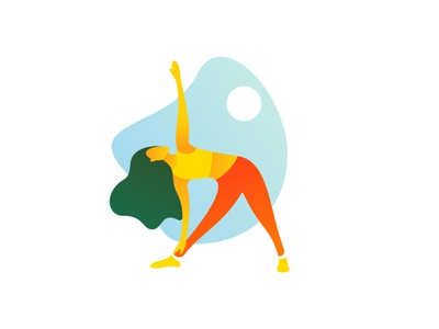 Sport Girl -Flat Illustration colorful woman girl wild yoga trending colors flat illustration sport