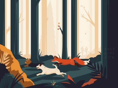 Fast Like Fox colorful colourful color colour cute jack russell yorkshire terrier commission autumn illustration forest nature animals pets dog dogs foxes fox