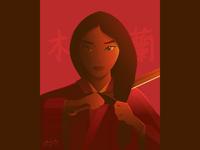 Mulan 2020 princess warrior gradient vector fan art disney asian art chinese asian illustration mulan