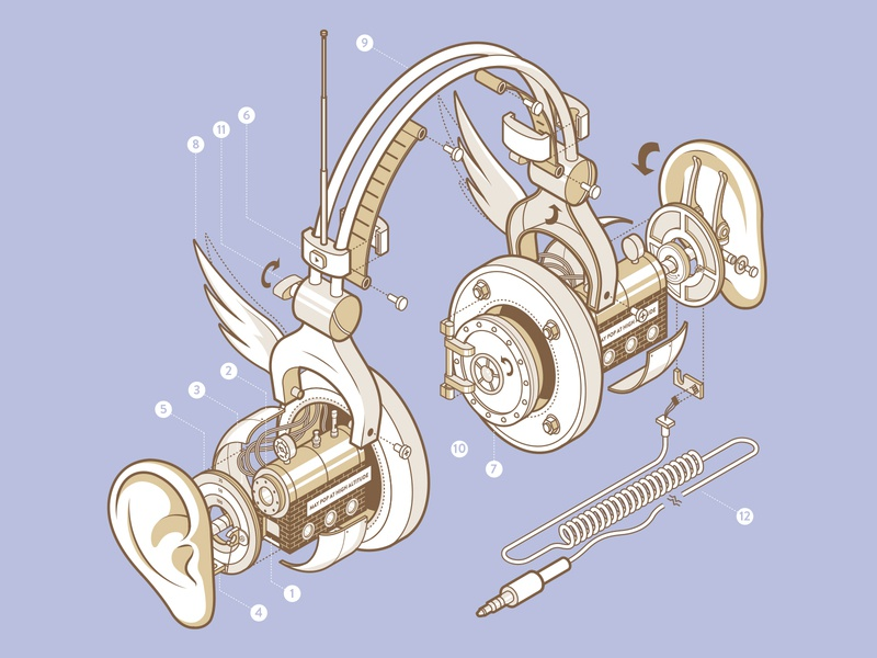 How to Open Your Ears technical outline 3d art mechanical isometric headphones earphones guidebook ears 3d illustration