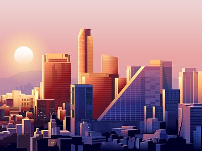 Mexico City Skyline colour color sunset sunrise cityscape architecture skyline illustration mexico city mexico