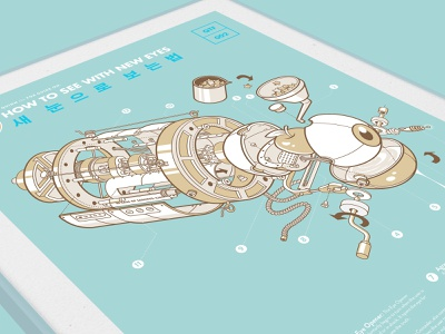 Quinn the Fox: How to See with New Eyes outline robot quarantine prints print mechanical lockdown isometric art isometric illustration eye eyes exploded view cute covid19 covid camera telescope art