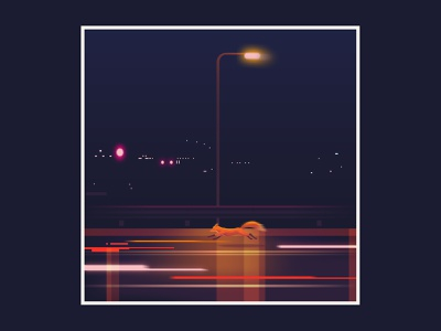 Quinn the Fox Running streetlight lights city lights foxes fox illustration urban city freeway motorway night time night color colour animals nature fox illustration cute