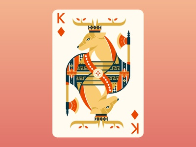 Quinn the Fox Playing Cards: King of Diamonds flat design cool animals nature color colour illustration cute deer king of diamonds cards playing cards stag