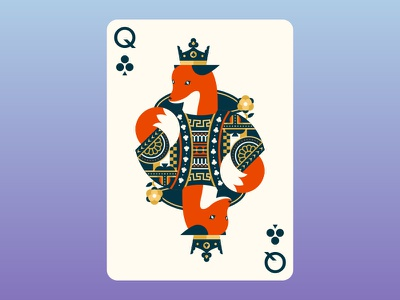 Quinn the Fox Playing Cards: Queen of Clubs queen suits playing cards cards queen of clubs fox cute illustration color colour nature animals cool flat design