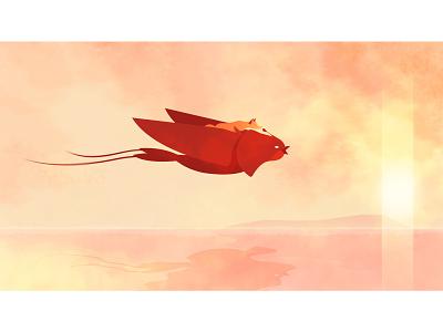 Quinn the Fox: Beyond the Reach of Love birds flight flying narrative story water nature watercolour watercolor sunset bird animals fox cute illustration storyboard