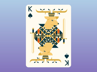 Quinn the Fox Playing Cards: King of Spades flat design cool animals nature color colour illustration cute deer stag king of spades cards playing cards geometric