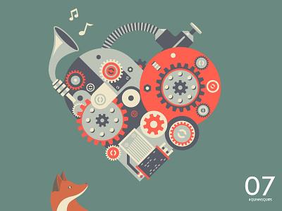 #QuinnsQuips cute illustration color cool fox colour fun children pretty cogs heart music