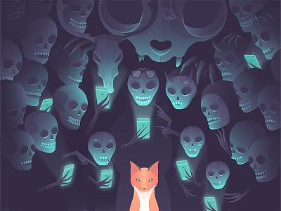 Happy Halloween 2016 iphone illustration happy halloween funny scary glow night illustrator cute fox ghosts halloween