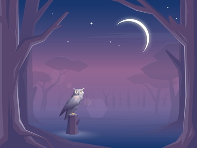 Jaguar Land Rover: Owl ultraviolet trees forest animals nature gaming game environment geometric low poly app owl