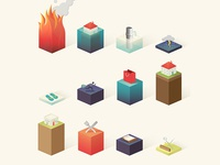 Isometric Bar Graph Icons