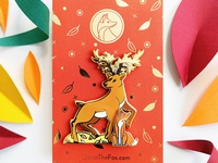 Quinn the Fox and the Isochronus Stag Enamel Pins