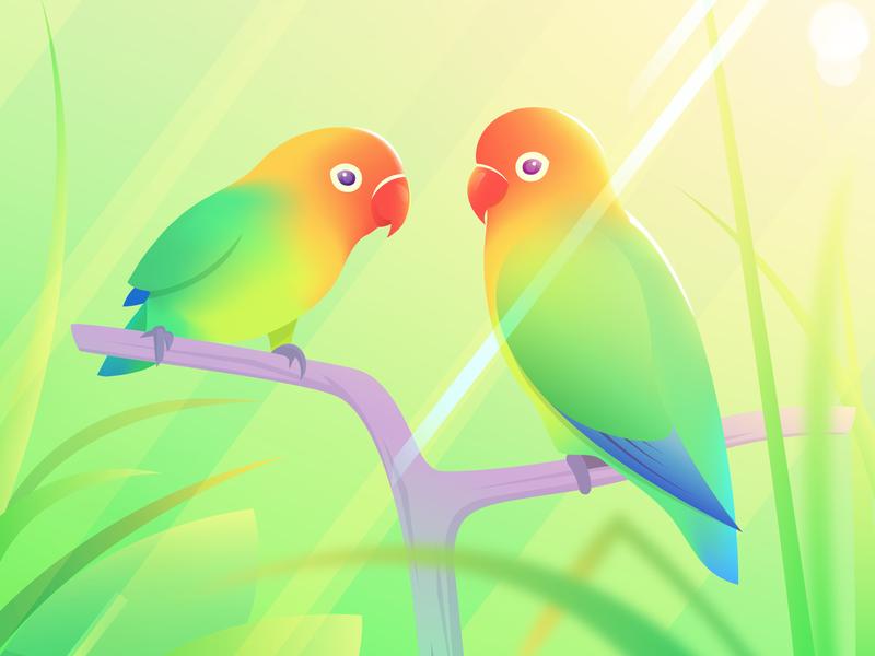Love Birds illustration illustrator gradient mesh color pretty grass nature gradient cute animals birds rainbow colour vector lovebirds love