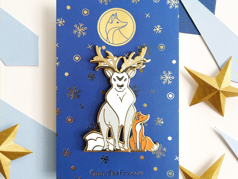 Quinn the Fox and the Isochronus Stag Enamel Pins nature cute gifts christmas stag pins leaves illustration gold fox foiling enamel pins deer badges winter