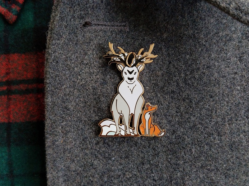 Quinn the Fox and the Isochronus Stag Enamel Pins snow winter animals nature illustration badges cute christmas xmas stag fox enamel pins