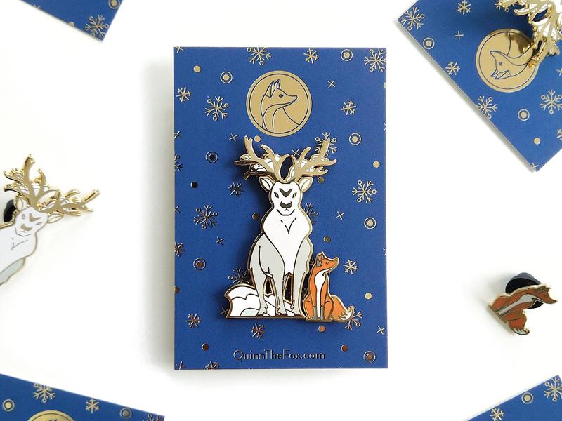 Quinn the Fox and the Isochronus Stag Enamel Pins xmas winter stag snow nature illustration fox enamel pins cute christmas badges animals