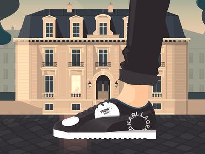 PUMA X Karl Lagerfeld vector illustrator illustration shoes fashion building paris architecture sneakers trainers karl lagerfeld shoe puma